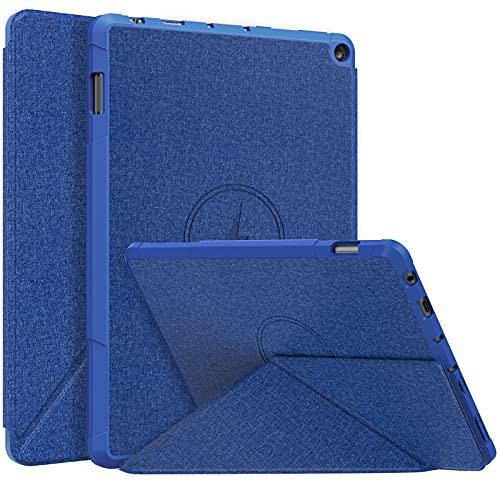 MoKo Funda Compatible con Nueva Kindle Fire HD 10 & 10 Plus Tableta (11ª Generación, 2021 Versión), Cubierta con Soporte Origami Múltiple Ángulos Visión Smart Case Carcasa TPU Magnético, Índigo