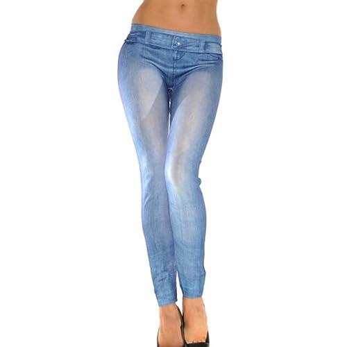 Jeggings elasticizzato blu denim Donna pantacollant aderente leggings jeans