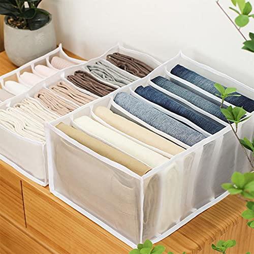 LPOQW Cajón organizador de cajones con compartimentos para jeans, armario, ropa, cajón, caja de separación de malla, cajón apilable, 7 rejillas de leggings blancos