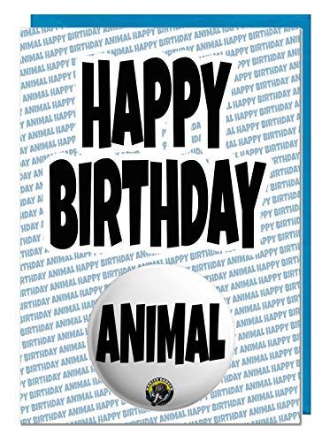 Gelukkige Verjaardag Dier - Verjaardagskaart met Grote Pin Badge - Grappig - Insult - Grap - Humor - Rude Blauw