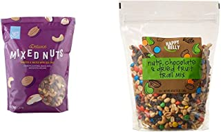 Amazon Brand - Happy Belly Deluxe Mixed Nuts, 44 Ounce & Happy Belly Nuts, Chocolate & Dried Fruit Trail Mix, 48 oz