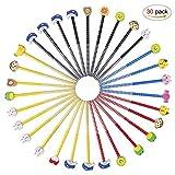 Schule HB Stifte Set 30 Pcs Bleistifte mit Radiergummi von Tiere Blumen Sonne Schmetterling etc für Geburtstag Mitgebsel Geschenk Kinder Party Gastgeschenk (Farbe zufällige Lieferung)