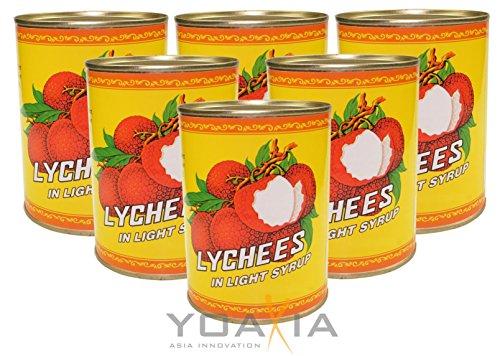 6er Pack - Litschis leicht gezuckert [6x 567g / 227g ATG] Lychees in Syrup