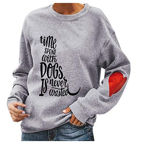 Mujer Camiseta Manga Larga T-Shirt Jersey Casuales De Primavera Top Holgado De Algodón Acogedor para Mujeres Lindo Patrón De Perro Moda Diaria 2020 Moda