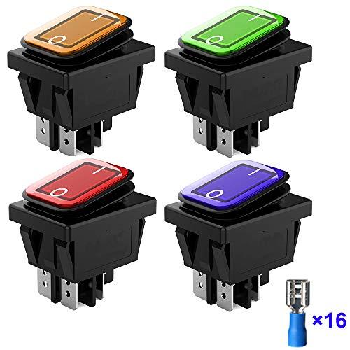Gebildet 4 Stücke 12V 24V 20A Wasserdicht Wippschalter mit LED-Anzeige, 4 Pin 2 Positionen DPST Beleuchtete EIN-Aus-Kippschalter für Auto LKW Motorrad Boot Marine (Rot Gelb Blau Grün)