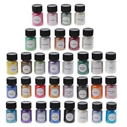 YAOYAN 33 colores en polvo de mica para resina epoxi, pigmento de perla, polvo natural, calidad cosmética, resina epoxi, herramientas de corte, flores