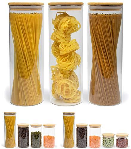 Elwin Neiles® ☀️ Vorratsglas mit Deckel [3er Set] - 100% luftdichte & stapelbare Glasbehälter - mottensichere Gläser - Vorratsdosen Glas