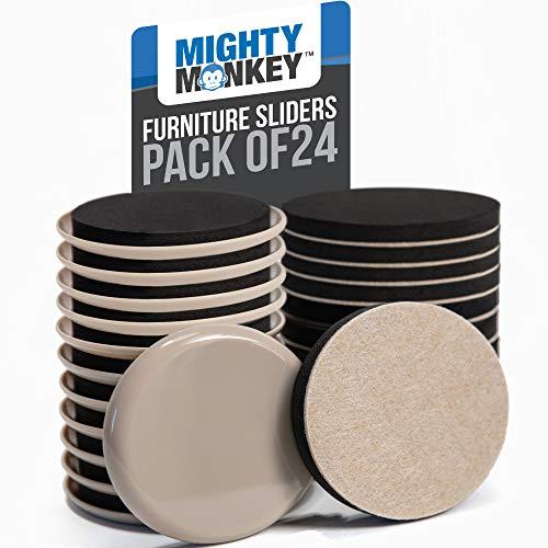 Mighty Monkey - Juego de 24 deslizadores de muebles de alta calidad, para alfombras y suelos duros, almohadillas de fieltro para posavasos, deslizadores para ayudar a mover...