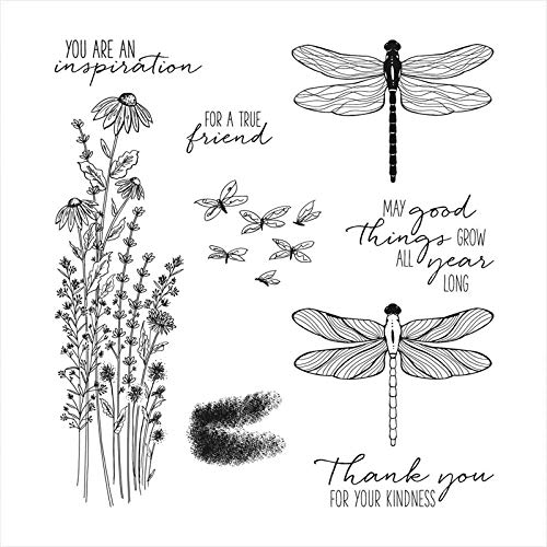 Dragonfly Dies and Stamp Sets for Card Making Leaves Flowers,May Good Things Grow All Year Long,You are Inspiration,Words Pharse Clear Rubber Stamp for DIY Scrapbooking Paper Crafting Stencil Die Cuts