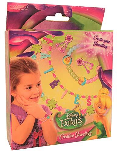Disney Fairies Fairy Tinkerbell sieradenset voor kettingen en armbanden met parels, hartjes, bloemen en stickers, creatieve set voor kinderen, meisjes