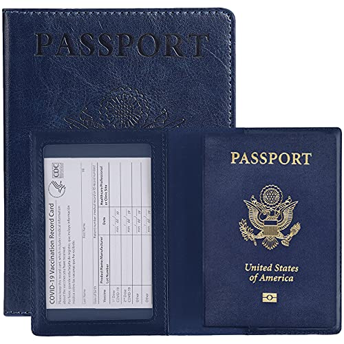 seOSTO Passport and Vaccine Card Holder Combo, PU Leather Passport Holder,Card Holder with Waterproof Clear Card Slot, Passport Case for Travel Family