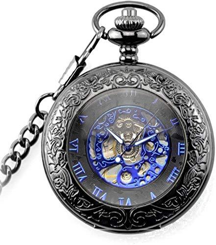 HFJKD zakhorloge Vintage Steampunk blauwe Romeinse wijzerplaat Mechanisch zakhorloge Skeleton hanger horloges met 30cm ketting voor mannen geschenken