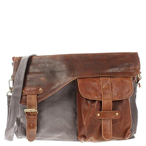 LECONI Messenger Bag DIN A4 Leder Canvas Damen & Herren Schultasche Retro look Collegetasche Umhängetasche 38x28x12cm braun grau LE3032-C