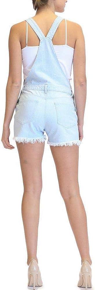 American Bazi Women's Ripped Denim Overall Shorts