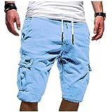 ITISME Pantaloni Uomo Bermuda Lavoro Pantaloni Tasconi con Elastico Pantofole Uomini Estive Casual Pantaloncino Sportivi