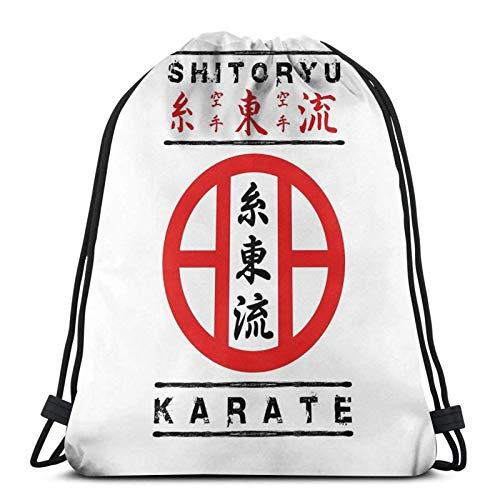 Hdadwy Shitoryu Karate Sport Bag Gym Sack Mochila con cordón para Compras en el Gimnasio