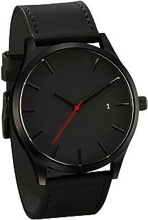 IEason,Popular Low-key Minimalist Connotation Leather Men's Quartz Wristwatch (A)