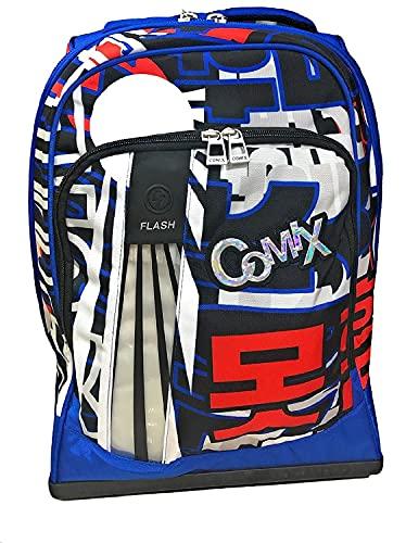 Zaino Scuola Trolley Comix Flash Blu Organizzato Luce Led 43x31x22 cm