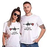 Camiseta King Queen Pareja Shirt Impresión Corazón 100% Algodón T-Shirt Parejas para Mujer Hombre Manga Corta Blusa Verano Regalo de San Valentín Dulce(Blanco+Blanco,S+S)