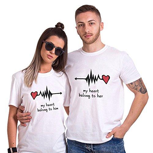 Camiseta King Queen Pareja Shirt Impresión Corazón 100% Algodón T-S