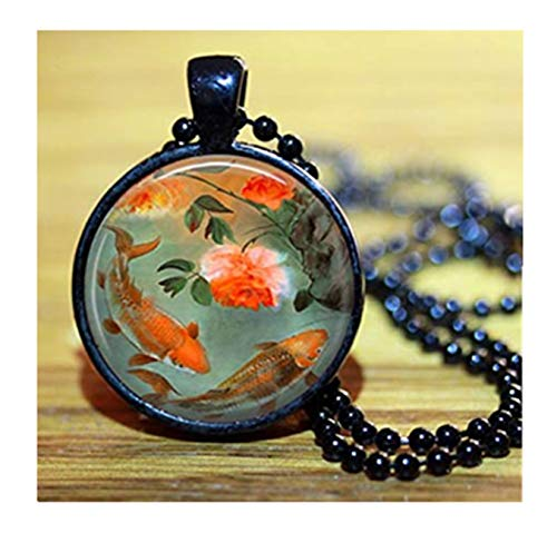 sea-maiden Koi-Fisch Charm Fisch Bild Anhänger Halskette, reine Handarbeit, kuppelförmige Glasornamente, ein zartes Geschenk