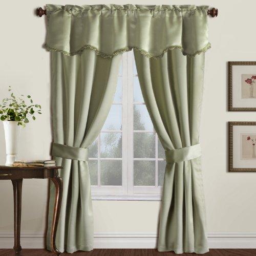 United Curtain Burlington Blackout Window Curtain Five Piece Panel Set, 52 by 63-Inch, Green
