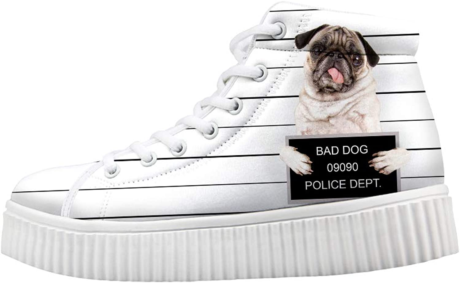 Owaheson Platform Lace up Sneaker Casual Chunky Walking shoes High Top Women Bad Dog Pug Police Registration Card