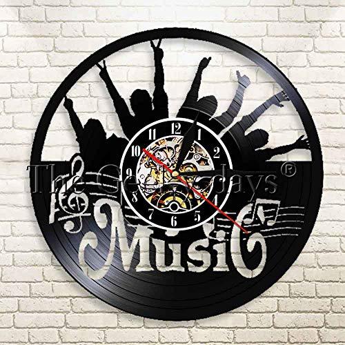 CVG 1 Pieza Pon tu Mano Reloj de Pared Rock N Roll Vinyl Record Reloj de Pared Luz Colgante Decoración Moderna para el hogar Regalo para Amante de la música Rock