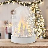 TRIXES LED Décoration de Noël Scène Arbre et Cerf - Dôme Lumineux en Bois Blanc