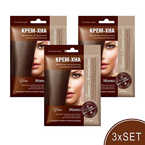 3xSET Henna Creme mit Klettenöl iranische Haarfarbe Haarkur Haare natürlich Naturkosmetik Tönungscreme gebrauchsfertig (Mokko)