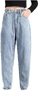 N\P Alta Cintura Jeans mamá Jeans Botón Blanqueado Harem Pantalones Denim Suelto Vintage Recubierto Casual Cintura ancha