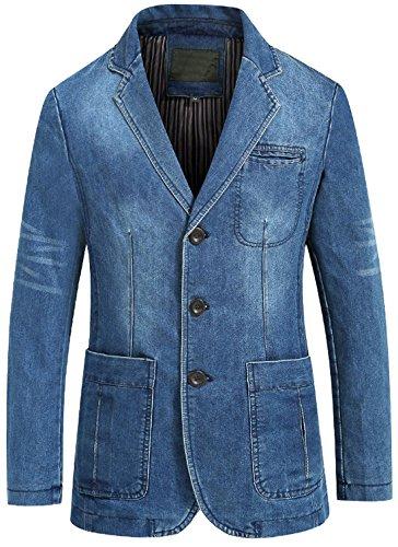 chouyatou Men's Classic Notched Collar 3 Button Tailoring Distressed Denim Blazer Jacket (Large, Blue)