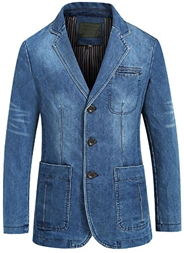 Men's Casual Denim Blazer Jacket Light Blue Washed Out Cotton Comfort Fit Spring