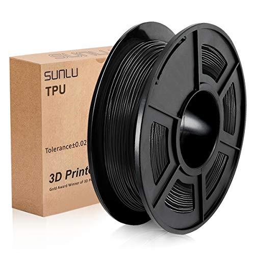 Filamento per stampanti 3D in TPU flessibile SUNLU 1,75 mm, filamento in TPU nero 1,75 +/- 0,02 mm per la stampa 3D, bobina da 1,1 libbre (0,5 kg)