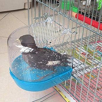 Honey MoMo Baignoire à Oiseaux, Accessoires pour Oiseaux, Perroquet, Baignoire Transparente, boîte de Douche à Suspendre – Bleu