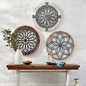 Heritage Round Wall Art-Metal Large Decorative Wall Medallions-Wooden Hanging Ornament Home Restaurant Decoration  Wholeset 3pcs