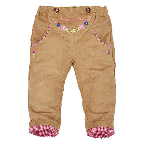 BONDI Lederhose ´Trachtenherz Alpenglück´ Beige Gr. 98 - Fesche Trachtenhose vom Markenhersteller BONDI Kidswear für Mädchen