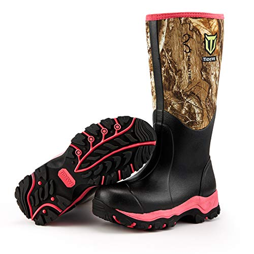 """TIDEWE Hunting Boot for Women, Insulated Waterproof Durable 15"""" Women's Hunting Boot, 6mm Neoprene and Rubber Outdoor Boot Realtree Edge Camo(Pink Size 9)"""
