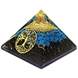 Orgonite Pyramids - Black Tourmaline Crystal for Orgone Energy Generator - Orgone Pyramid for Protection - Healing Crystal - Chakra Crystal - Tree of Life Symbol for Meditation - Real Crystal