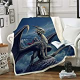 Dragon Blanket Sherpa Throw Blanket for Bed 3D Dragon Printed Blankets for Kids and Adults Soft Fluffy Fleece Blanket Bedding (Style1, 150cm x 200cm(59'' x 79''))