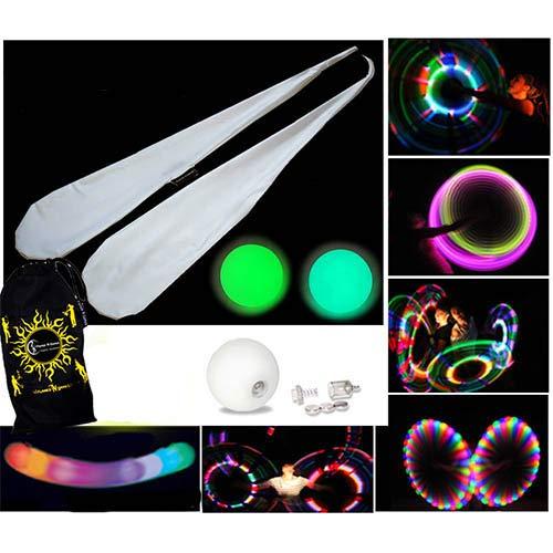Pro Sock Glow Poi - Socken LED Poi Set + Stoff Reisetasche! Nachtleuchtender Poi inkl. Batterien. Langsam Fading multicolour Leuchtpoi Luminous Pois Led.