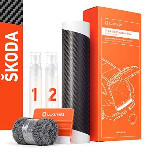 Luxshield Ladekantenschutz Folie Komplettset für Superb Combi 3 (III) 3V I 2015-2021 - Stoßstangenschutz, Kratzschutz, Lackschutzfolie - Carbon Optik Selbstklebend