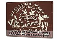 カレンダー Perpetual Calendar Nostalgic Endless Summer Tin Metal Magnetic