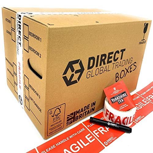 15 Strong Cardboard Storage Packing Moving House Boxes Double Walled with Fragile Tape and Black Marker Pen and 10 Fragile Stickers 47cm x 31.5cm x 30cm 44 Litres