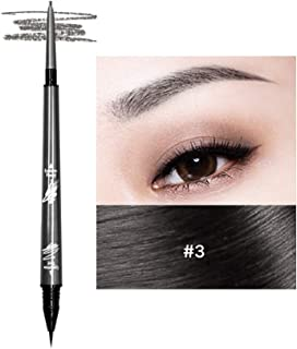 Music Flower 2 in 1 Microblading Eyebrow Pencil Tint 1.5mm Super Fine Pen Waterproof 24h Long-lasting(3# Drak grey)