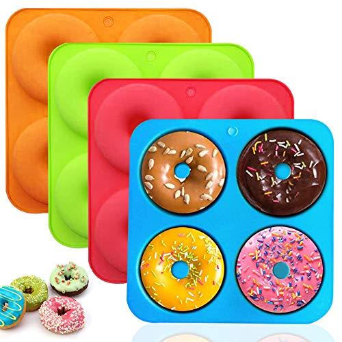 WENTS Silikon Donut Formen - Miotlsy 4 Stück Silikon Donut Backform Antihaft Backblech für Kuchen Keks Bagels Muffins Kuchen für Geschirrspüler, Backofen, Mikrowelle, Kühlschrank