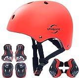 Casco Ajustable para niños y Equipo de protección, Cascos y Almohadillas para Bicicletas para niños pequeños, Rodilleras, Coderas y muñequeras (Red, S(3-8years Old))