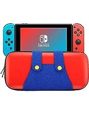 KUPVALON fodral för Nintendo Switch, bärfodral hårt skal stort förvaringsfodral med 10 spelpatroner, bärbar Mario-stil brytare resefodral skyddande förvaringsväska – röd & blå