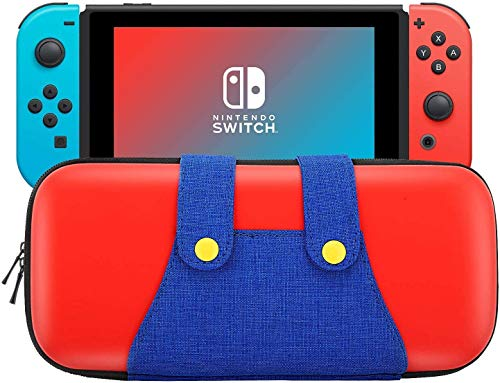 KUPVALON Case for Nintendo Switch, Carrying Case Hard Shell Large Storage Case with 10 Game Cartridges, Portable Mario Style Switch Travel Cases Protective Storage bag - Red & Blue