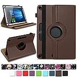 NAmobile Tablet Tasche für Wortmann Terra PAD 1005 Hülle hochwertiges Kunstleder mit Standfunktion 360° Drehbar Universal 10.1 Zoll Cover, Farben:Braun